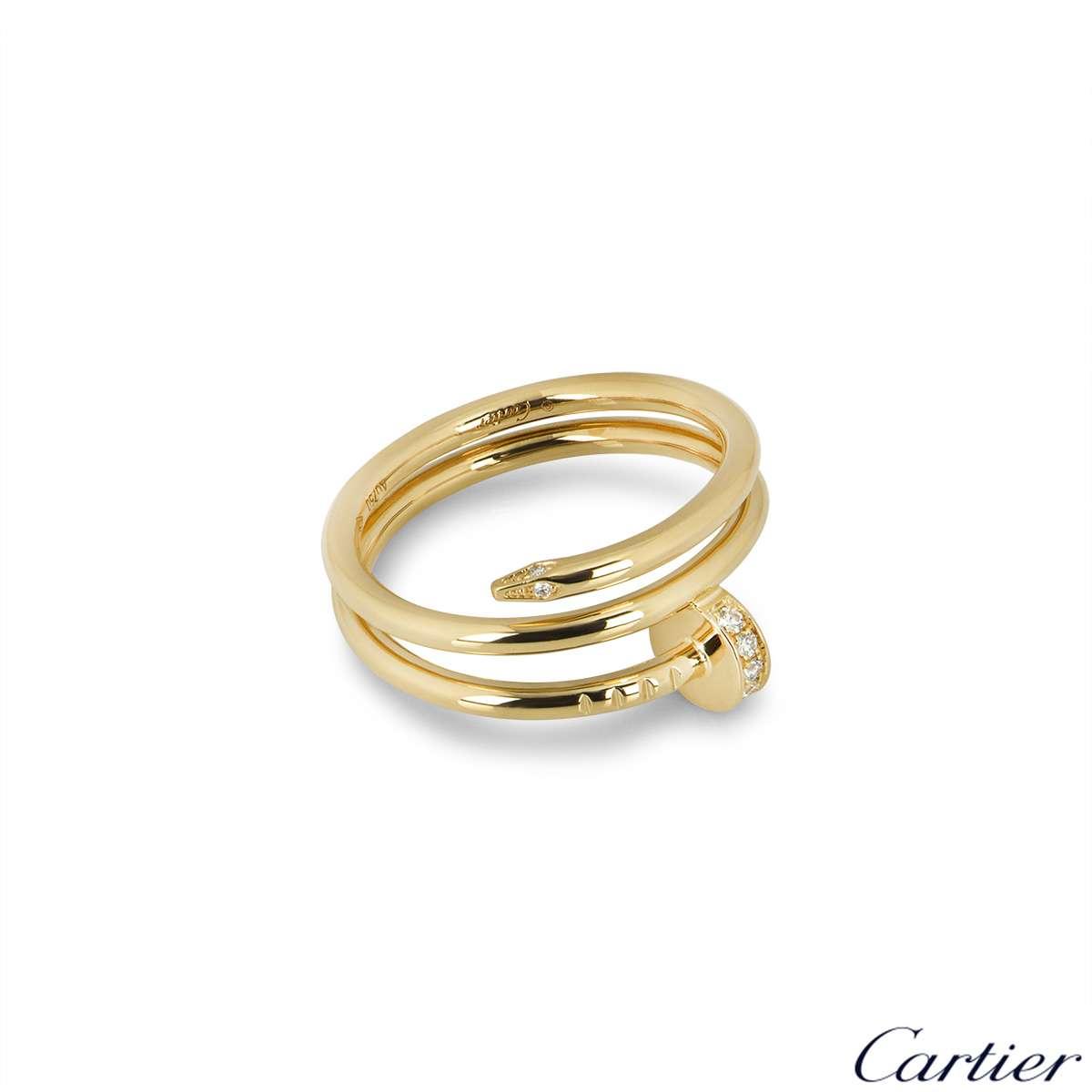 Cartier Yellow Gold Diamond Juste Un Clou Ring Size 53 B4211800